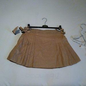 Versace 42 US6 leather pleated skirt